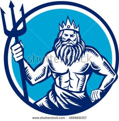 Illustration of a poseidon god of the sea holding trident viewed from front set inside circle on isolated background done in retro woodcut style. #Poseidon #woodcut #illustration