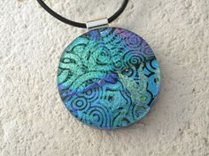 Dichroic Necklace  Blue Green Black  Dichroic Glass by ccvalenzo, $30.00