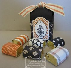 Hershey chocolate treat box. Halloween. Stampin Up Sweet Hauntings stamp set and the Happy Haunting Designer Series Paper to create this adorable little box filled with chocolate!