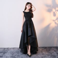 black banquet evening dress noble elegant party summer long section High Low Evening Dresses, Hi Low Dresses, Satin Dresses, Evening Gowns, Lace Dress, Teen Dresses, Midi Dresses, Club Dresses, Evening Party
