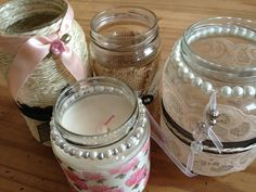 A few fruit jars a new lease of life! With some burlap, lace, beads and ribbon. Bottles And Jars, Glass Jars, Burlap Mason Jars, Jute Kant, Candles, Crafty, Diy, Burlap Lace, Ribbon