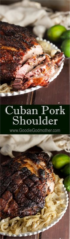 traditional Christmas meal in Cuban households, this Cuban pork shoulder recipe is perfect for smaller gatherings! * Recipe on A traditional Christmas meal in Cuban households, this Cuban pork shoulder recipe is perfect for smaller gatherings! Pork Recipes, Cooker Recipes, Mexican Food Recipes, Family Recipes, Cuban Pork, Pork Shoulder Recipes, Cuban Cuisine, Good Food, Yummy Food