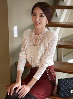 Boutique Slim Long Sleeve Mesh Yarn Lace Plus Size Blouse