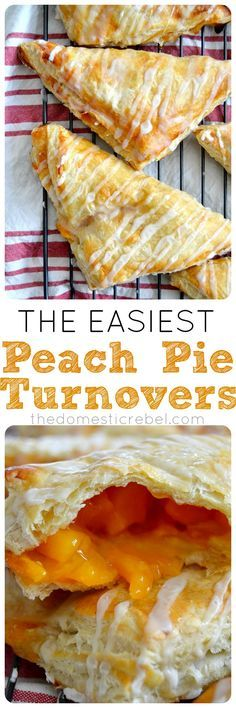 The Easiest Peach Turnovers These Peach Pie Turnovers are the EASIEST you'll ever make! Three ingredients, one outrageously delicious, gooey peach turnover. Easy Peach Pie, Peach Pie Filling, Köstliche Desserts, Dessert Recipes, Peach Turnovers, Fried Pies, Fried Peach Pies, Puff Pastry Recipes, Puff Pastries
