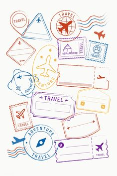 premium image of Travel stickers and badge set vector 1229293 : Travel stickers and badge set vector Background Retro, Travel Stamp, Travel Wallpaper, Airplane Wallpaper, Thinking Day, Budget Planner, Travel Themes, Travel Scrapbook, Thailand Travel