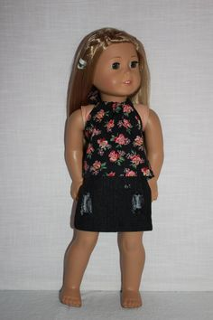 18 inch doll clothes, black floral halter top, dark wash ripped denim skirt, american girl ,maplelea by UpbeatPetites on Etsy