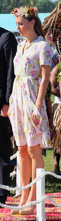 PROJECT D: The Duchess wore this floral dress from Dannii Minogue's label before flying home