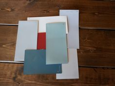 Novak color choices: Glidden Totally Teal, Behr Awning Red, Marta Stewart- milk pail, chinchilla, driftwood gray, glass of milk, and sharkey gray.
