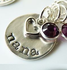 "Nana Pendant Necklace With Birthstone Charms - A simple, but elegant, solid recycled sterling silver ""grandma"" pendant is adorned with a sterling heart charm. $58.00 http://www.wholesouljewelry.com/nana-pendant-necklace-with-birthstone-charms-sterling-silver/"