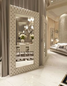 Art Deco room with Spain Full Length Eco-Leather Upholstered Floor Mirror