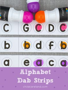 Alphabet dab strips for letter recognition and fine motor skills development. Upper And Lowercase Letters, Lower Case Letters, Letter Recognition Kindergarten, Turkey Pattern, Fine Motor Skills Development, Early Learning Activities, Michaels Craft, Turkey Craft, Craft Stores