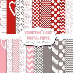 INSTANT DOWNLOAD, Valentine's Day Paper, Valentine Paper, Scrapbook Paper, Digital Paper, Pink Paper, Chevron Paper