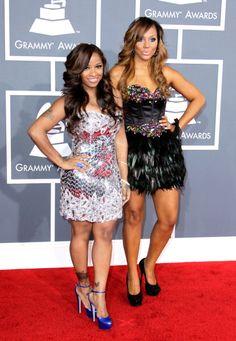 @TamarBraxtonHer and @ToyaWright rockin their @SherriHill to the Grammy's #grammys