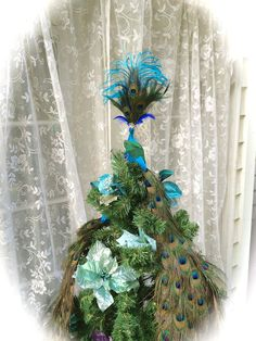 28 36 48 or 60 Peacock Christmas tree topper    CUSTOM by Ivyndell