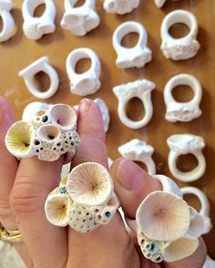 Adding a little colour to these greenware porcelain 'rock coral' rings. Porcelain Jewelry, Ceramic Jewelry, Ceramic Beads, Ceramic Clay, Porcelain Ceramics, Cold Porcelain, Clay Beads, Ceramic Pottery, Porcelain Tiles