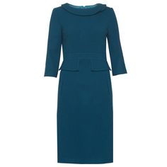 The Bronte Teal work dress is made from premium wool with elastane for extra comfort in the office and a perfect fit. Matilda & Quinn design details include a subtle peplum detailing at the waistband, a beautiful pronounced collar piece and the Matilda & Quinn signature pleat at the back. The Bronte luxury business dress is both a smart and sophisticated dress for work, finished in a rich teal perfect for the Autumn/Winter season.