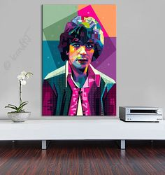 Tribute to Syd Barrett  PORTRAIT icon Art Gallery Personalisierter Kunstdruck Dein Name, Stadt, Datum - Pop Art  Grafik Wandbild Geschenk