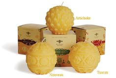 Beeswax Sphere Candles from Big Dipper Wax Works. Had purchased some amazing smelling natural beeswax candles in Tuscany years ago and these look like a good replacement!