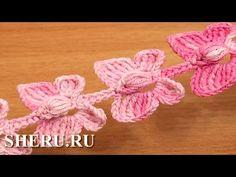 Crochet Butterfly Cord Tutorial 52 Бабочки на шнуре - YouTube