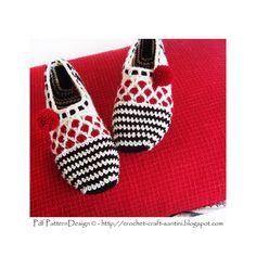 Stripe and Dot Slippers  Basic Crochet Pattern by PdfPatternDesign