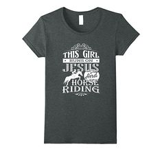 This girl runs on Jesus and horse riding t-shirt: Clothing