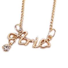 Aries astrology zodiac necklace Gold tone, statement necklace. Price firm unless bundled at 10% off. Approximately 22'' chain.Keywords: boho, pastel, glam, not black Jewelry Necklaces