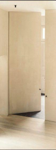 full height, flush panel door with pivot hinge, concealed frame