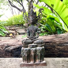 """Excited to share this item from my #etsy shop: 14"""" Crowned Khmer Burma Thailand Bronze Buddha Statue Sit On Elephants"""