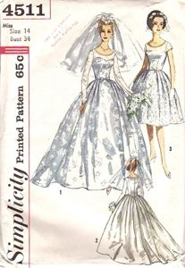 Classic Wedding Bridal Dress Pattern Simplicity 4511 Full Skirt Underdress Evening Gown Vintage Sewing Pattern (the short version) 1960s Wedding Dresses, Wedding Dresses With Straps, Colored Wedding Dresses, Wedding Gowns, Fall Wedding, Reception Dresses, Bling Wedding, Modest Wedding, Casual Wedding