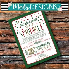 Any Color CHRISTMAS BABY SPRINKLE Couples Red Green Gold One More Baby Shower Bbq Barbecue Sprinkles 1st 2nd Surprise Birthday Invitation