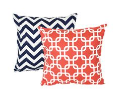 Grad Sale - 13% Off - Pillow cover -2 DECORATIVE PILLOW Covers - THROW Pillows - 16 x 16 inches - Coral Gotcha and Navy Chevron Zig Zag. $24.36 covers only.