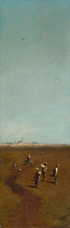 Flying Kites      Artist:Carl Spitzweg  Location:Berlin National Gallery