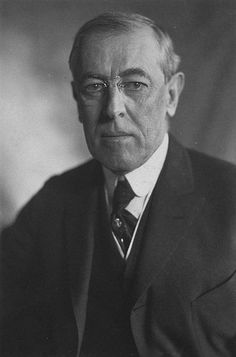 Woodrow Wilson, the 28th president of the USA (1913-1921) and US president during the First World War. Instrumental at the post-war Paris Peace Conference.