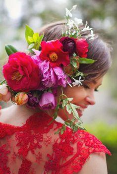 New Garden Rose Flower Crown Ana Rosa 26 Ideas Arte Floral, Flower Crown Wedding, Wedding Flowers, Flower Crowns, Crown Flower, Wedding Colors, Flowers In Hair, Beautiful Flowers, Bouquet