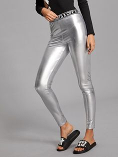 e402c50993bce Shop Letter Print Metallic Silver Leggings online. SheIn offers Letter  Print Metallic Silver Leggings &