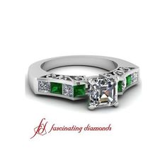 Channel Set Diamond Vintage Engagement Ring With Princess Cut Emerald... ($1,670)
