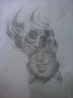 Rosa skull henrique tattoo