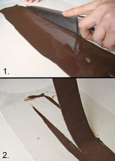 This photo tutorial will show you how to use transfer sheets to wrap a cake in chocolate and create chocolate cut-outs to decorate the top of your cake. Chocolate Work, Chocolate Wrapping, Chocolate Molds, How To Make Chocolate, Chocolate Cake, Making Chocolate, Chocolate Transfer Sheets, Chocolate Decorations, Baking And Pastry