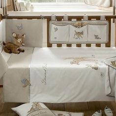 Walt Disney Dearest Bambi Embroidered Baby Cot Bed Natural Nursery Quilt Duvet   eBay