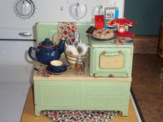 Vintage Tin Toy Kitchen - Girard Toys 1930s Jadite Green Stove loaded w/GOODIES!