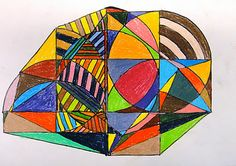 another pinner said: We've been studying Frank Stella's Protractor Series.  After learning about the artist and analyzing his work through a PowerPoint, students began drawing their own designs using a pencil, protractor, and ruler.  Next day, students outlined their design with sharpie, and started coloring with colored pencil.  I had several students tell me this was the most favorite project they've ever done... they are easy to please! Some of their design are very mathematical.