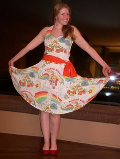 rainbow brite sheet dress.  Had those sheets when I was a kid. What a cool idea :)