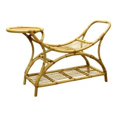 1960s French Rattan Bench | Chairish Rattan, Wicker, Plantation Homes, Outdoor Furniture, Outdoor Decor, 1960s, Bamboo, Armchair, Bench