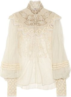 ShopStyle: Ralph Lauren Collection Therese embellished silk-tulle blouse
