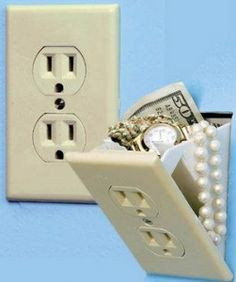 Wasn't sure where I wanted to pin this one... Secret electrical wall socket stash safe conceals valuables- very cool.