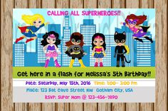 Girls Superhero Birthday Invitations by OrangeOrchidDigital