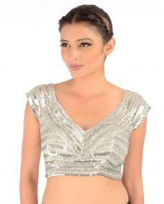 #Exclusivelyin, #IndianEthnicWear, #IndianWear, #Fashion, Silver Sleeveless Sequined Blouse