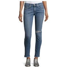 Rag  Bone/JEAN Cropped Skinny Jeans With Released Hem, Midland ($79) ❤ liked on Polyvore featuring jeans, denim, pants, skinny jeans, super distressed skinny jeans, cropped skinny jeans, mid rise skinny jeans and destroyed skinny jeans