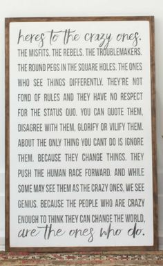I love this sign - Here's To The Crazy Ones wood sign, inspirational sign, home decor, gift idea, farmhouse sign, farmhouse decor, rustic sign, rustic decor #ad