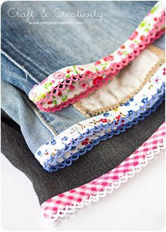 Turning Jeans into shorts with decorative bias binding.